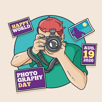 Hand drawn design world photography day