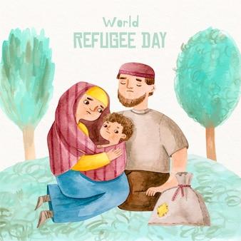 手描きデザインの世界難民の日