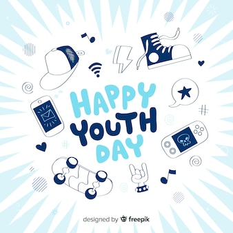Hand drawn design youth day background