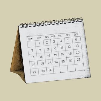 手描きの机のカレンダーのイラスト