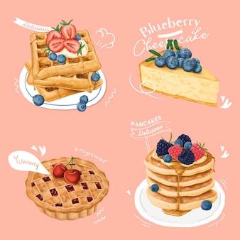 Collezione di dessert disegnati a mano