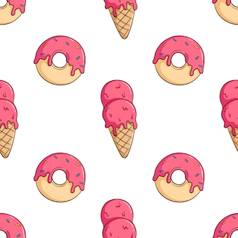 Hand drawn dessert and ice cream cone seamless pattern