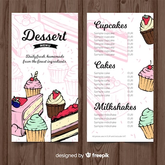 Hand drawn dessert menu template