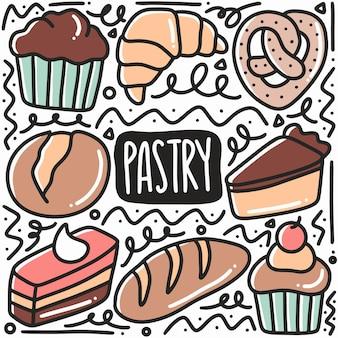 Ручной обращается десертное печенье каракули с иконами и элементами дизайна