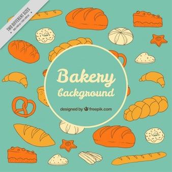 手描きデザートやパンの背景