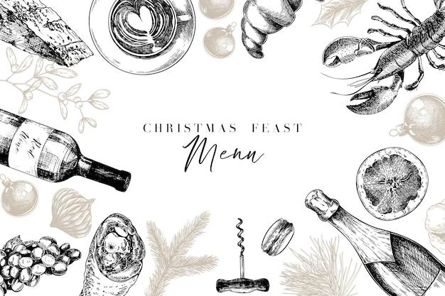 Hand drawn detailed christmas decorations, food and beverages.