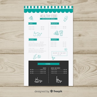 Hand drawn details healthy menu template
