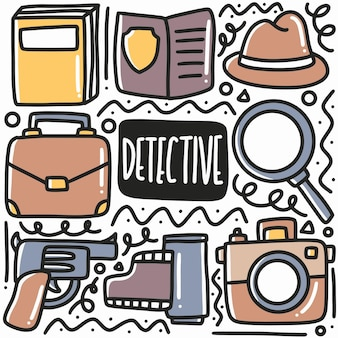 Hand drawn detective equipment doodle set with icons and design elements