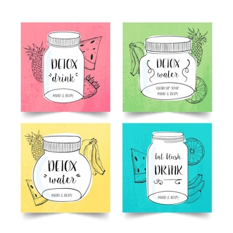 Hand drawn detox diet drink collection with several fruits and vegetables