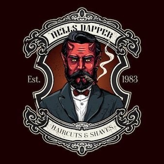 Hand drawn devil for barbershop logo in vintage style