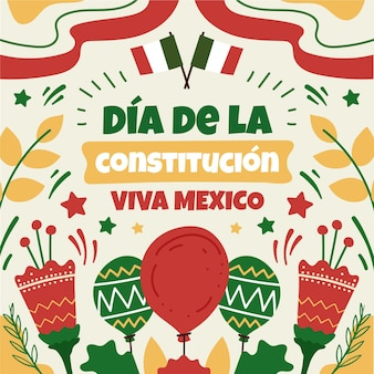 Hand-drawn dia de la constitucion illustration