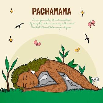 손으로 그린 디아 드 라 pachamama 그림