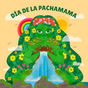 Hand drawn dia de la pachamama illustration