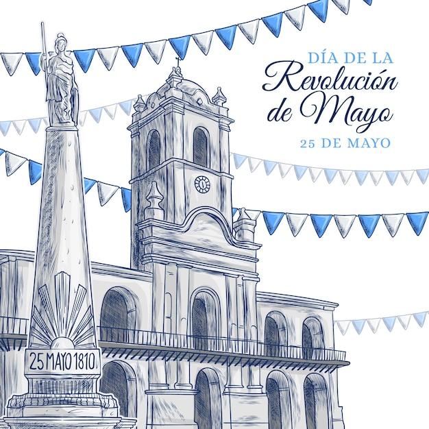 Hand drawn dia de la revolucion de mayo illustration