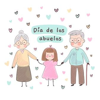 Hand drawn dia de los abuelos illustration