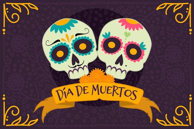 Hand drawn dia de muerstos background