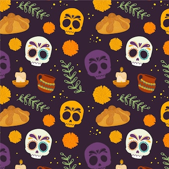 Hand drawn dia de muerstos pattern
