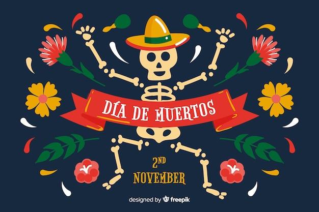 Hand drawn día de muertos background with skeleton