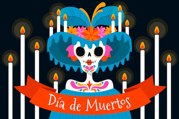 Hand drawn dia de muertos background