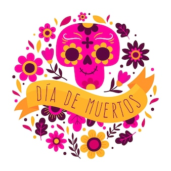 Hand drawn dia de muertos background