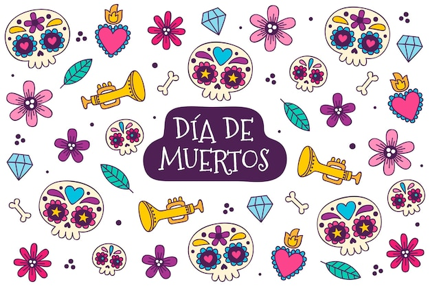 Hand drawn día de muertos background