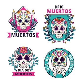 Hand drawn dia de muertos badges collection