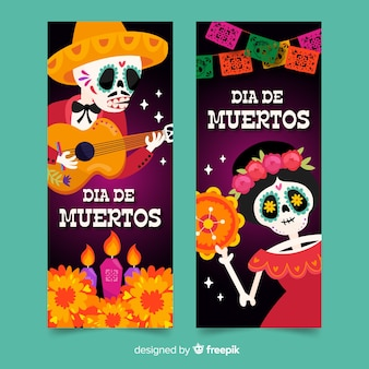 Hand drawn día de muertos banners template