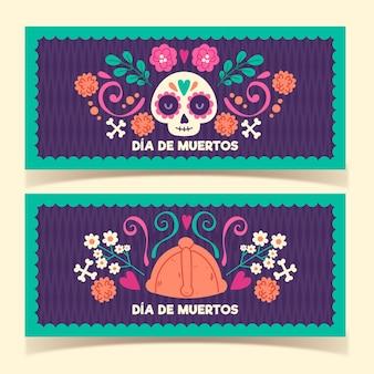 Hand drawn dia de muertos banners template