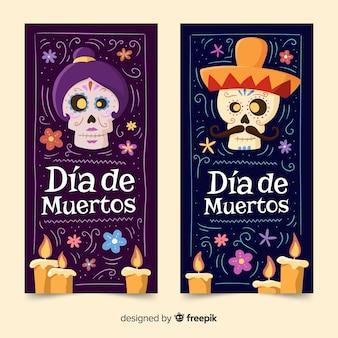 Hand drawn día de muertos banners