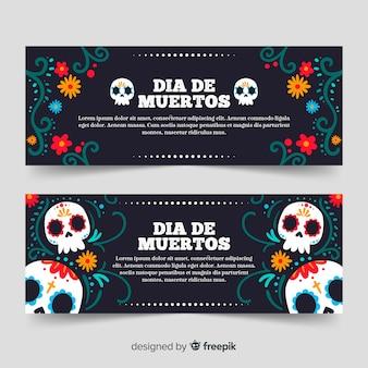 Hand drawn dia de muertos banners