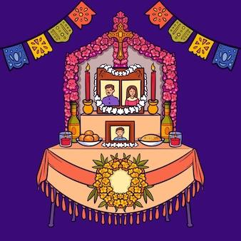 手描きのdiademuertos家族の家の祭壇のイラスト