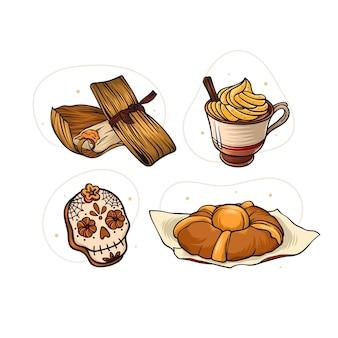 Ручной обращается коллекция продуктов dia de muertos