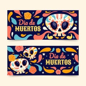 Hand drawn dia de muertos horizontal banners set