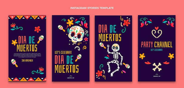 Hand drawn dia de muertos instagram stories collection