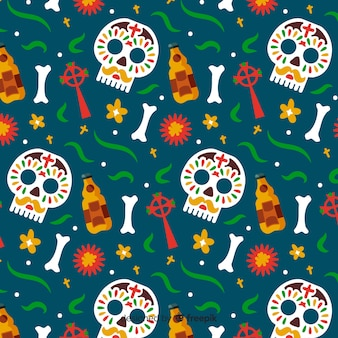 Hand drawn día de muertos pattern in green background