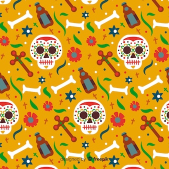 Hand drawn día de muertos pattern