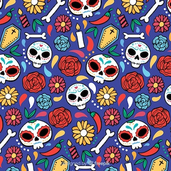 Hand drawn dia de muertos pattern