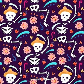 Hand drawn of dia de muertos pattern