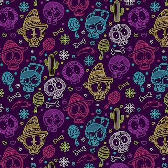 손으로 그린 된 dia de muertos 패턴