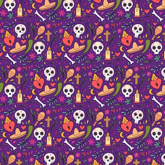 Hand drawn dia de muertos pattern
