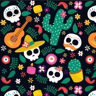 Ручной обращается рисунок dia de muertos