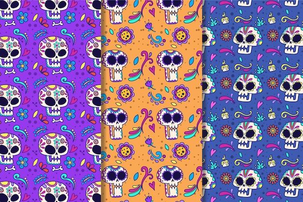 Коллекция рисованной шаблонов dia de muertos