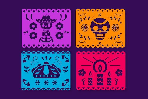 Hand drawn dia de muertos picado papers collection
