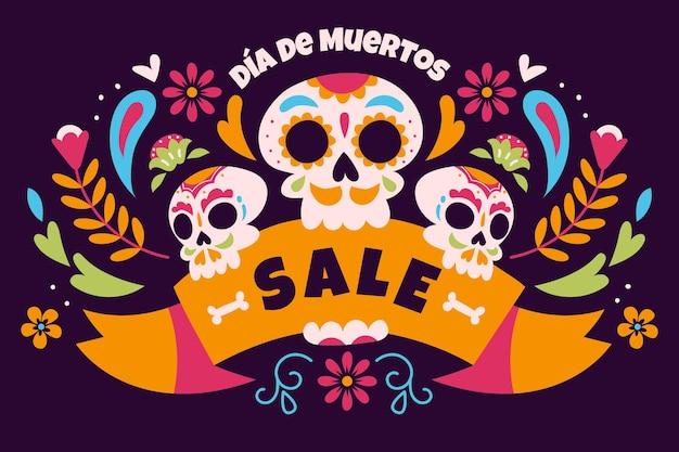 Fondo di vendita di dia de muertos disegnato a mano