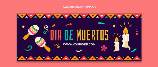 Modello di copertina per social media dia de muertos disegnato a mano