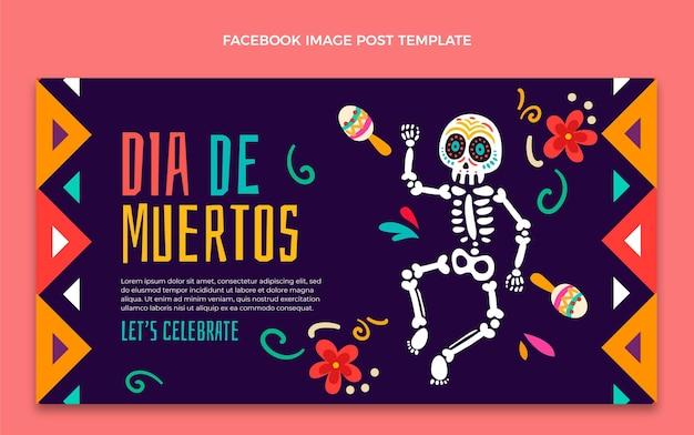 Modello di post sui social media dia de muertos disegnato a mano