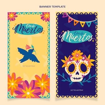 Hand drawn dia de muertos vertical banners set