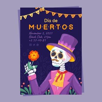 Hand drawn dia de muertos vertical poster template