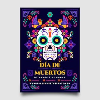 Ручной обращается шаблон вертикального плаката dia de muertos