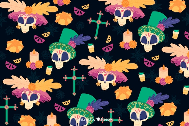 Hand drawn dia de muertos wallpaper